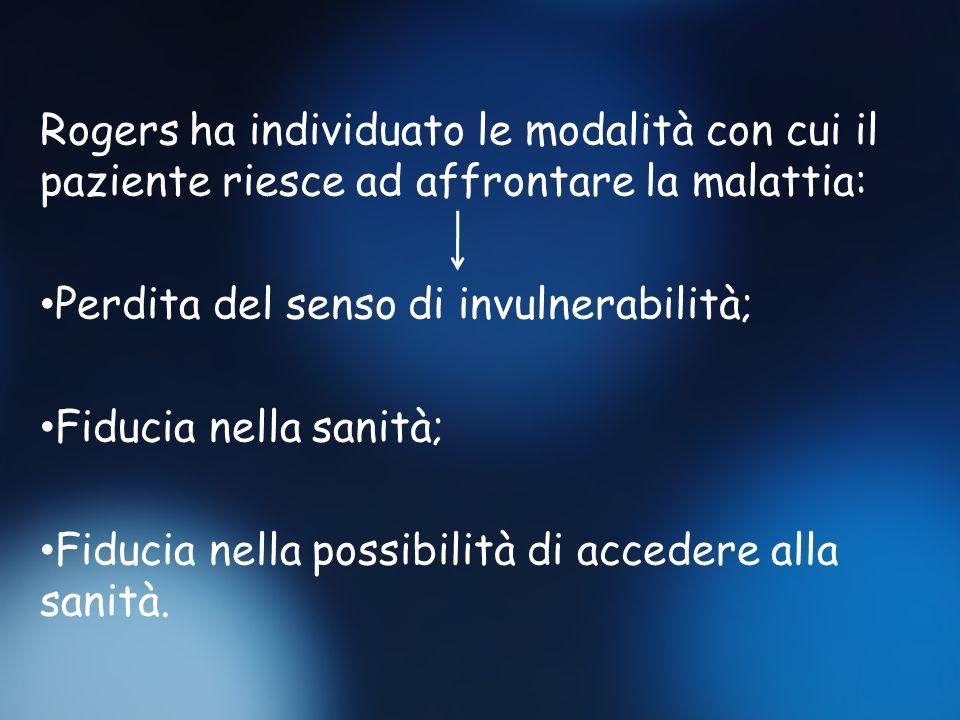 Rogers ha individuato le modalità con cui il paziente riesce ad affrontare la malattia: Perdita del senso di invulnerabilità; Fiducia nella sanità; Fi