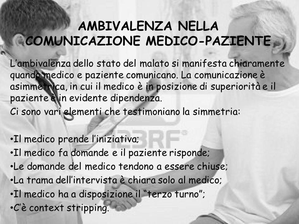 AMBIVALENZA NELLA COMUNICAZIONE MEDICO-PAZIENTE Lambivalenza dello stato del malato si manifesta chiaramente quando medico e paziente comunicano. La c