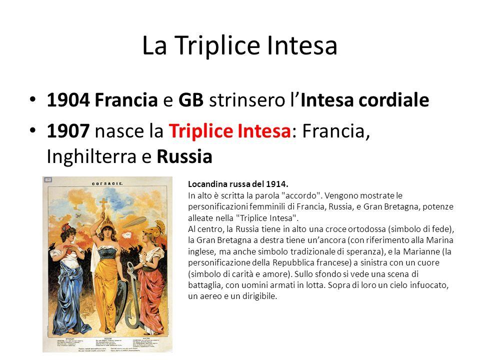 La Triplice Intesa 1904 Francia e GB strinsero lIntesa cordiale 1907 nasce la Triplice Intesa: Francia, Inghilterra e Russia Locandina russa del 1914.