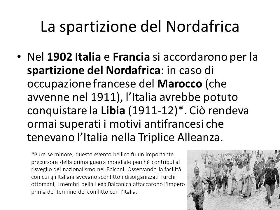 La spartizione del Nordafrica Nel 1902 Italia e Francia si accordarono per la spartizione del Nordafrica: in caso di occupazione francese del Marocco