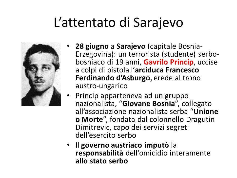 Lattentato di Sarajevo 28 giugno a Sarajevo (capitale Bosnia- Erzegovina): un terrorista (studente) serbo- bosniaco di 19 anni, Gavrilo Princip, uccis