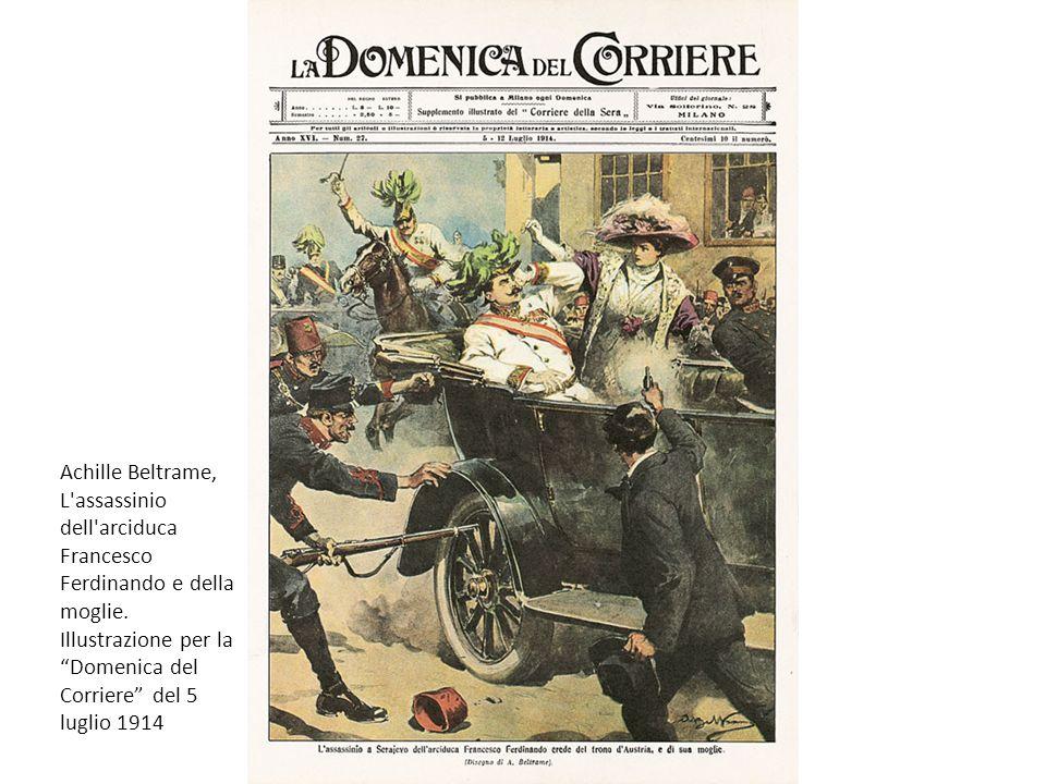 Achille Beltrame, L'assassinio dell'arciduca Francesco Ferdinando e della moglie. Illustrazione per la Domenica del Corriere del 5 luglio 1914