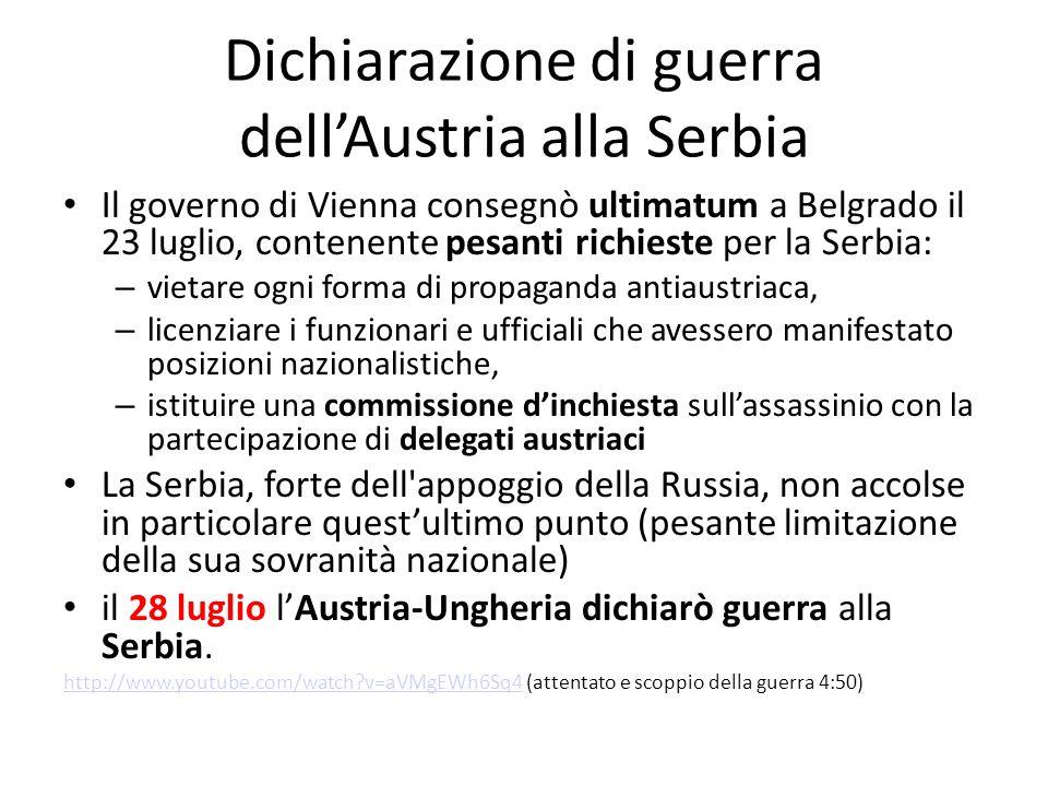 Dichiarazione di guerra dellAustria alla Serbia Il governo di Vienna consegnò ultimatum a Belgrado il 23 luglio, contenente pesanti richieste per la S