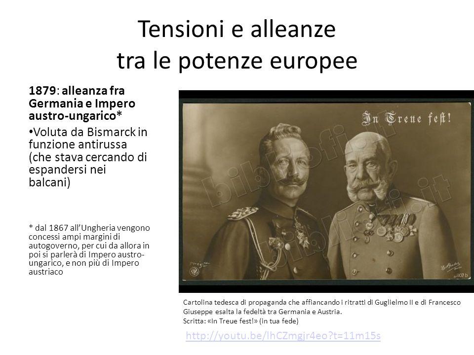 Tensioni e alleanze tra le potenze europee 1879: alleanza fra Germania e Impero austro-ungarico* Voluta da Bismarck in funzione antirussa (che stava c