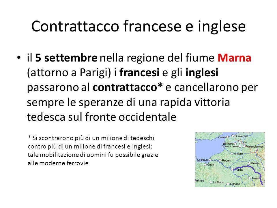 Contrattacco francese e inglese il 5 settembre nella regione del fiume Marna (attorno a Parigi) i francesi e gli inglesi passarono al contrattacco* e
