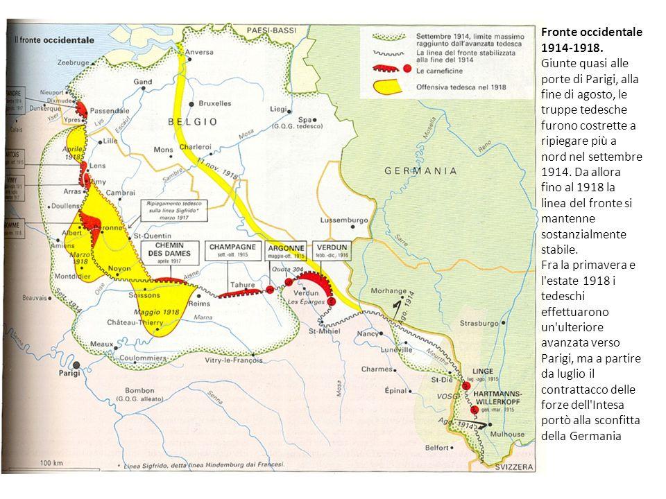 Fronte occidentale 1914-1918. Giunte quasi alle porte di Parigi, alla fine di agosto, le truppe tedesche furono costrette a ripiegare più a nord nel s