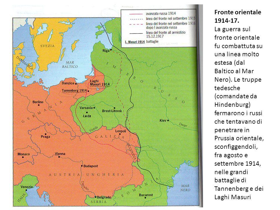 Fronte orientale 1914-17. La guerra sul fronte orientale fu combattuta su una linea molto estesa (dal Baltico al Mar Nero). Le truppe tedesche (comand