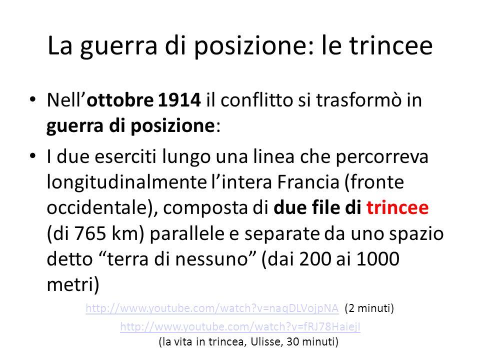 La guerra di posizione: le trincee Nellottobre 1914 il conflitto si trasformò in guerra di posizione: I due eserciti lungo una linea che percorreva lo