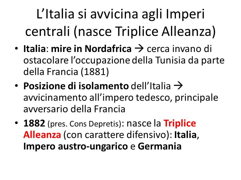 LItalia si avvicina agli Imperi centrali (nasce Triplice Alleanza) Italia: mire in Nordafrica cerca invano di ostacolare loccupazione della Tunisia da