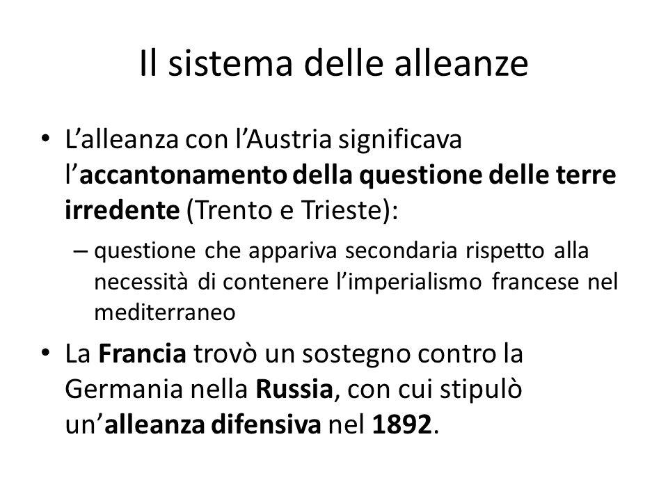 Il sistema delle alleanze Lalleanza con lAustria significava laccantonamento della questione delle terre irredente (Trento e Trieste): – questione che