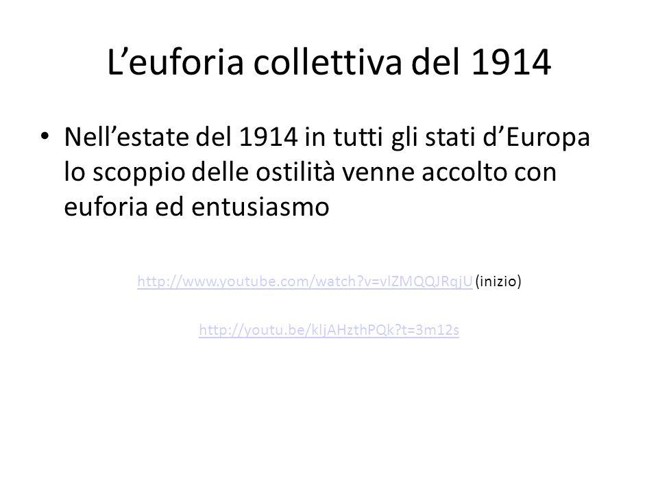 Leuforia collettiva del 1914 Nellestate del 1914 in tutti gli stati dEuropa lo scoppio delle ostilità venne accolto con euforia ed entusiasmo http://w