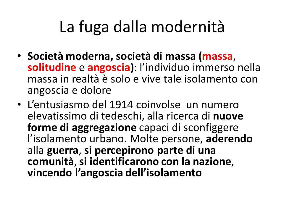 La fuga dalla modernità Società moderna, società di massa (massa, solitudine e angoscia): lindividuo immerso nella massa in realtà è solo e vive tale