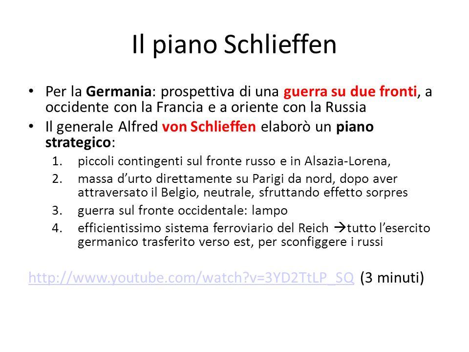 Il piano Schlieffen Per la Germania: prospettiva di una guerra su due fronti, a occidente con la Francia e a oriente con la Russia Il generale Alfred