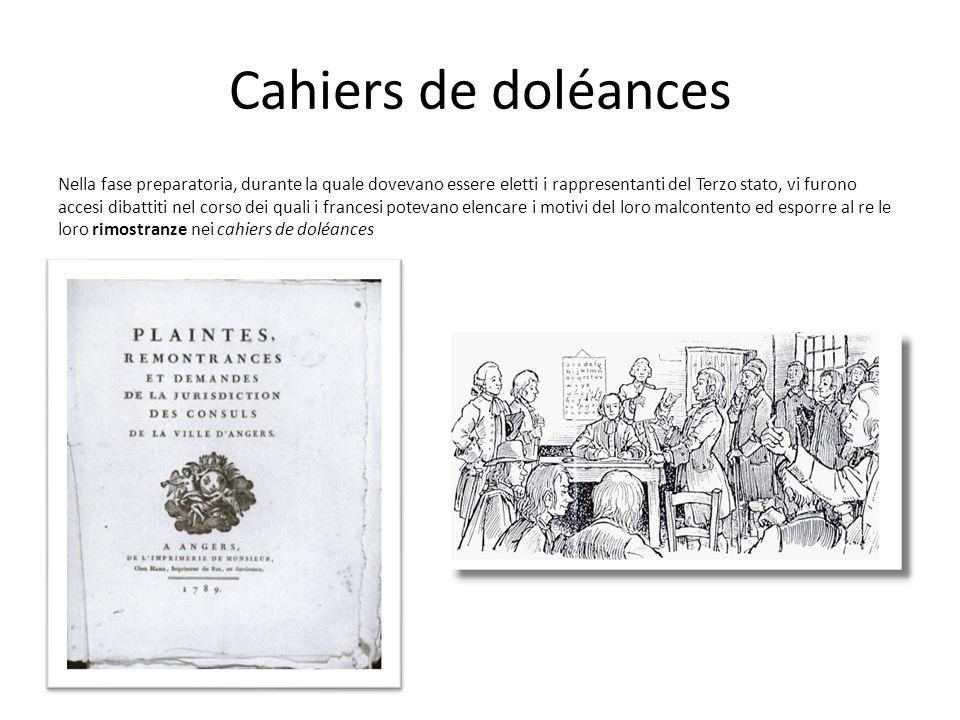 Cahiers de doléances Nella fase preparatoria, durante la quale dovevano essere eletti i rappresentanti del Terzo stato, vi furono accesi dibattiti nel