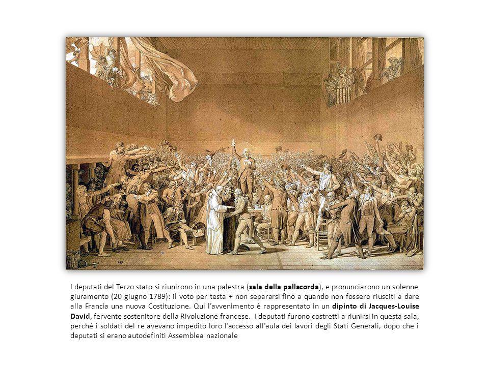 I deputati del Terzo stato si riunirono in una palestra (sala della pallacorda), e pronunciarono un solenne giuramento (20 giugno 1789): il voto per t