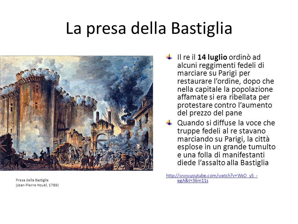 La presa della Bastiglia Il re il 14 luglio ordinò ad alcuni reggimenti fedeli di marciare su Parigi per restaurare lordine, dopo che nella capitale l