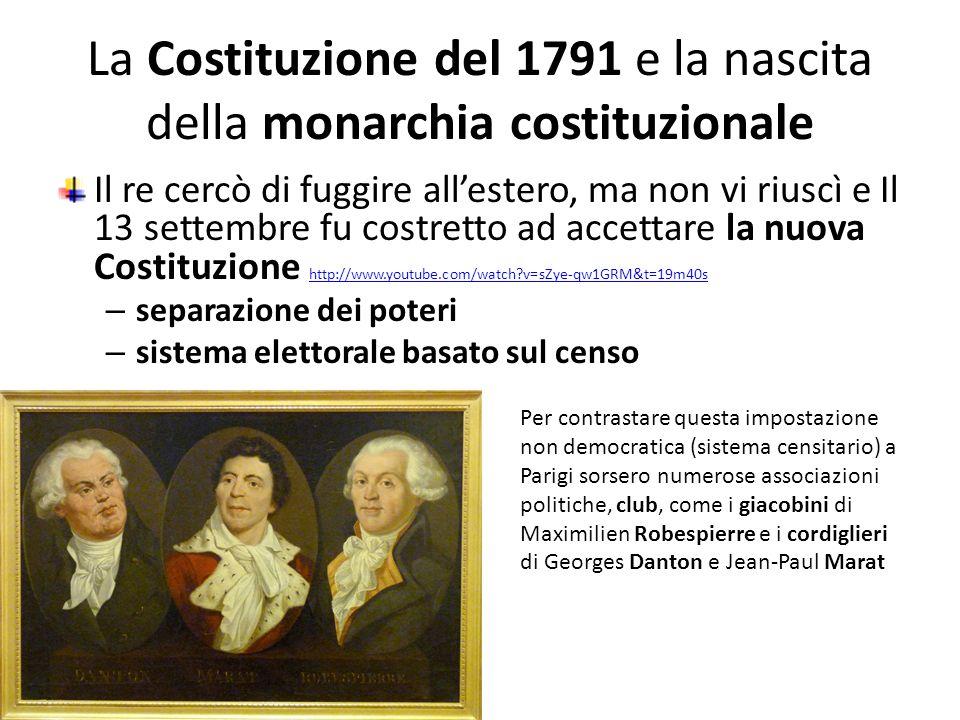 La Costituzione del 1791 e la nascita della monarchia costituzionale Il re cercò di fuggire allestero, ma non vi riuscì e Il 13 settembre fu costretto