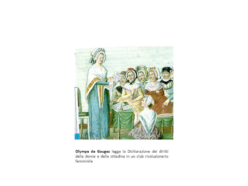 Olympe de Gouges legge la Dichiarazione dei diritti della donna e della cittadina in un club rivoluzionario femminile