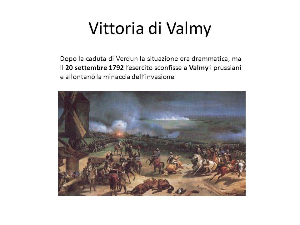 Vittoria di Valmy Dopo la caduta di Verdun la situazione era drammatica, ma Il 20 settembre 1792 lesercito sconfisse a Valmy i prussiani e allontanò l