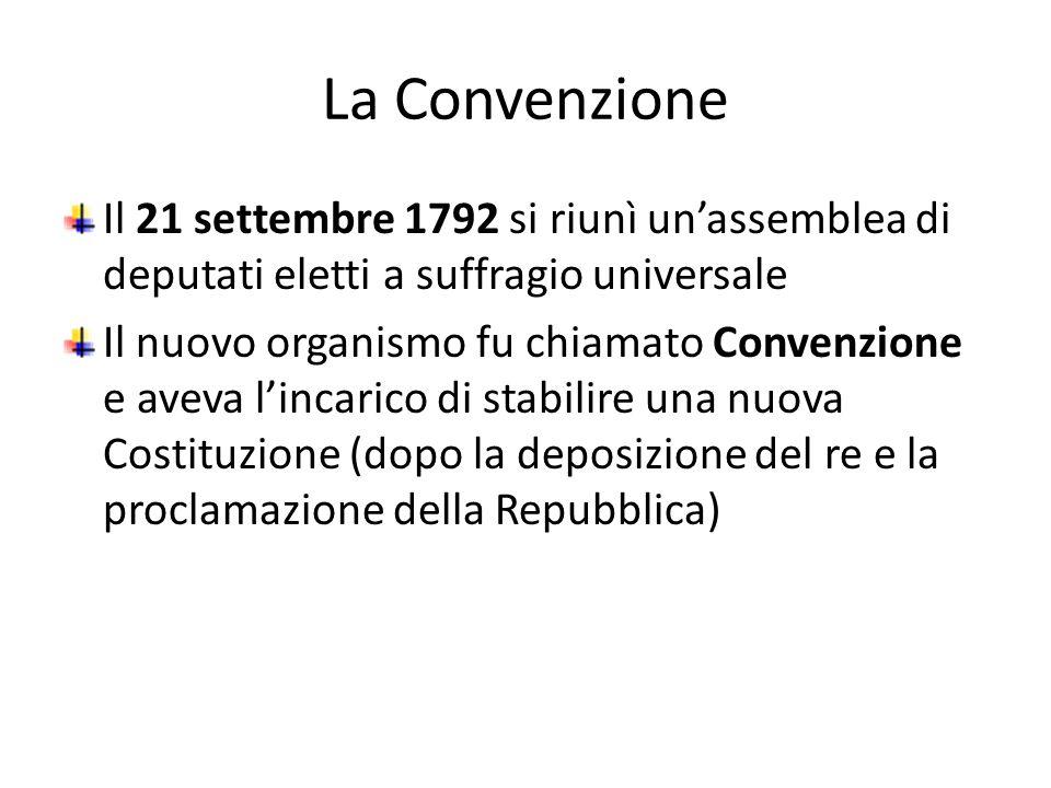 La Convenzione Il 21 settembre 1792 si riunì unassemblea di deputati eletti a suffragio universale Il nuovo organismo fu chiamato Convenzione e aveva