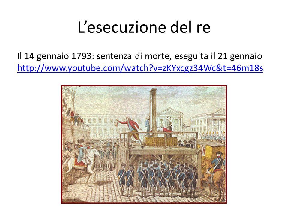 Lesecuzione del re Il 14 gennaio 1793: sentenza di morte, eseguita il 21 gennaio http://www.youtube.com/watch?v=zKYxcgz34Wc&t=46m18s