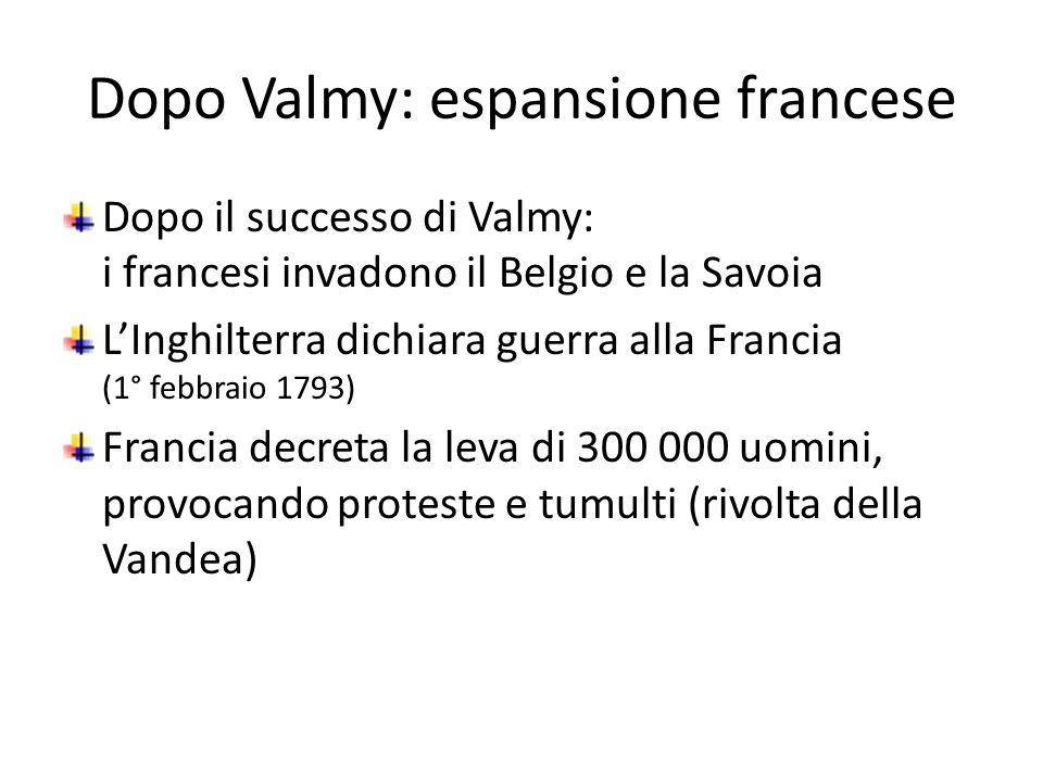 Dopo Valmy: espansione francese Dopo il successo di Valmy: i francesi invadono il Belgio e la Savoia LInghilterra dichiara guerra alla Francia (1° feb