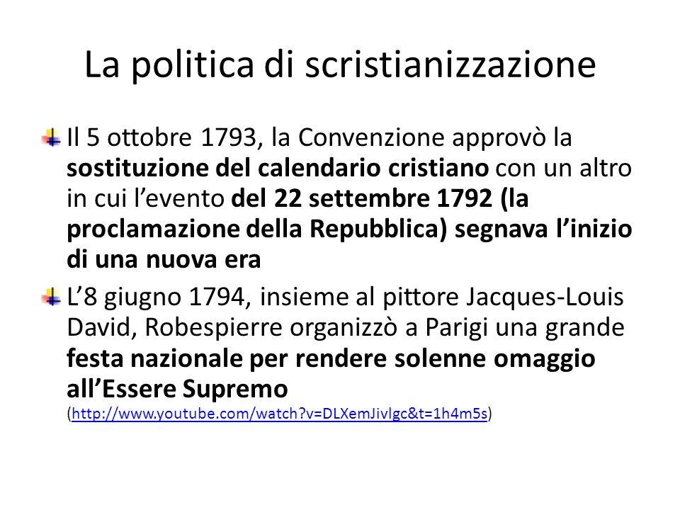 La politica di scristianizzazione Il 5 ottobre 1793, la Convenzione approvò la sostituzione del calendario cristiano con un altro in cui levento del 2