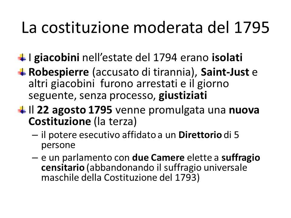 La costituzione moderata del 1795 I giacobini nellestate del 1794 erano isolati Robespierre (accusato di tirannia), Saint-Just e altri giacobini furon