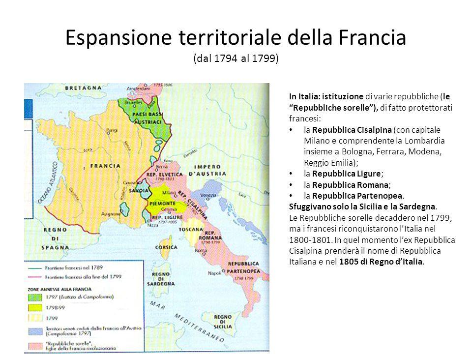 Espansione territoriale della Francia (dal 1794 al 1799) In Italia: istituzione di varie repubbliche (le Repubbliche sorelle), di fatto protettorati f