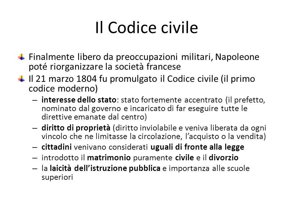 Il Codice civile Finalmente libero da preoccupazioni militari, Napoleone poté riorganizzare la società francese Il 21 marzo 1804 fu promulgato il Codi