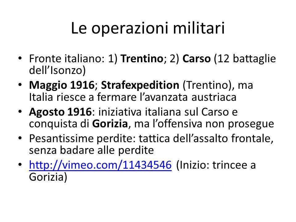 Le operazioni militari Fronte italiano: 1) Trentino; 2) Carso (12 battaglie dellIsonzo) Maggio 1916; Strafexpedition (Trentino), ma Italia riesce a fe