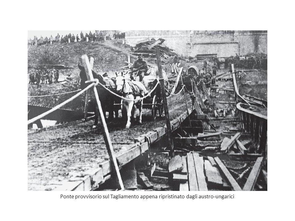 Ponte provvisorio sul Tagliamento appena ripristinato dagli austro-ungarici