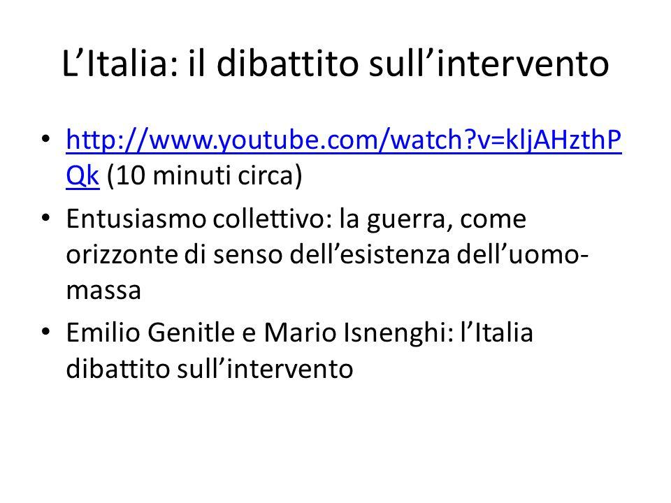 LItalia: il dibattito sullintervento http://www.youtube.com/watch?v=kljAHzthP Qk (10 minuti circa) http://www.youtube.com/watch?v=kljAHzthP Qk Entusia