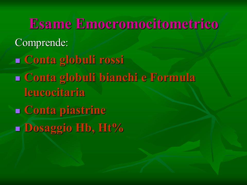 Esame Emocromocitometrico Comprende: Conta globuli rossi Conta globuli rossi Conta globuli bianchi e Formula leucocitaria Conta globuli bianchi e Form