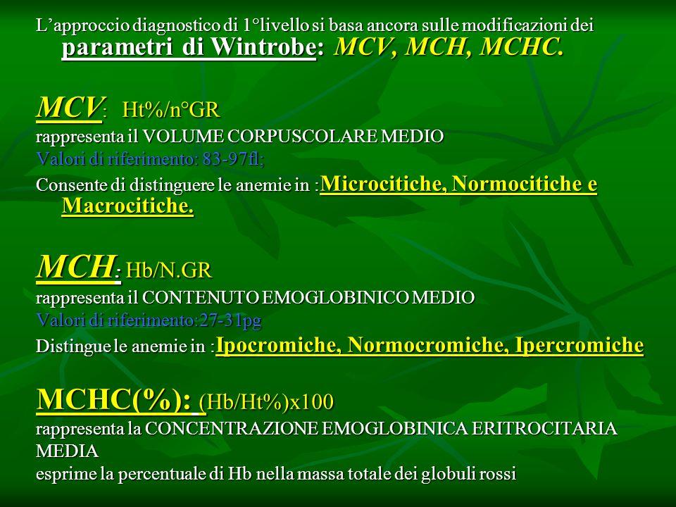 Lapproccio diagnostico di 1°livello si basa ancora sulle modificazioni dei parametri di Wintrobe: MCV, MCH, MCHC. MCV : Ht%/n°GR rappresenta il VOLUME