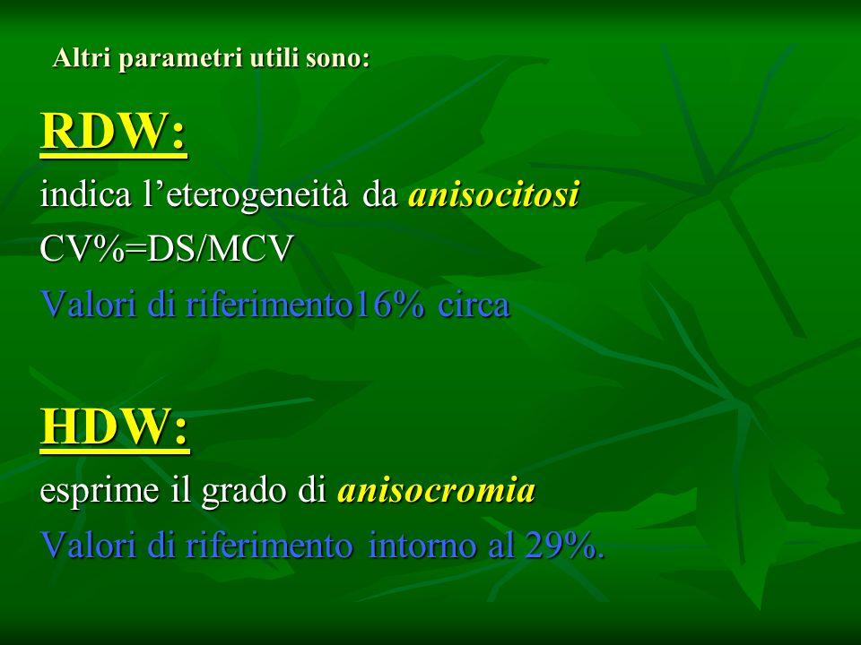 Altri parametri utili sono: RDW: indica leterogeneità da anisocitosi CV%=DS/MCV Valori di riferimento16% circa HDW: esprime il grado di anisocromia Va