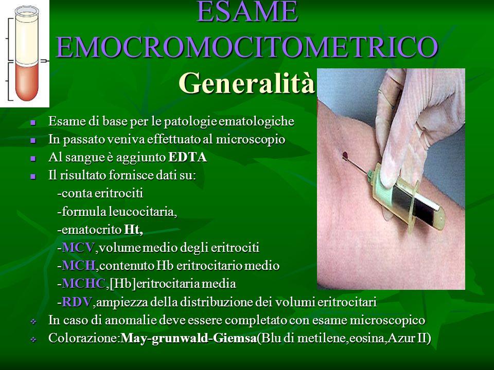 ESAME EMOCROMOCITOMETRICO Generalità Esame di base per le patologie ematologiche Esame di base per le patologie ematologiche In passato veniva effettu