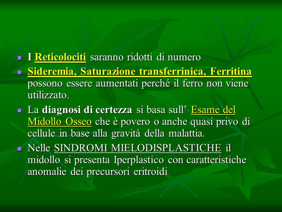 I Reticolociti saranno ridotti di numero I Reticolociti saranno ridotti di numero Sideremia, Saturazione transferrinica, Ferritina possono essere aume