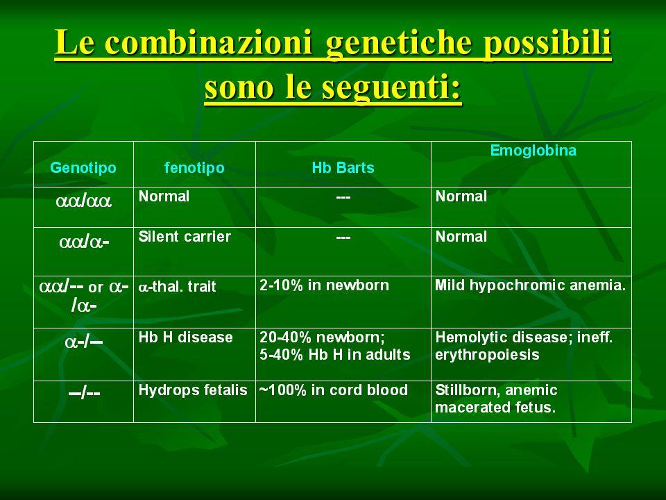 Le combinazioni genetiche possibili sono le seguenti: