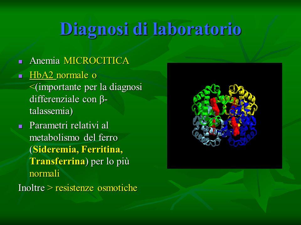 Diagnosi di laboratorio Anemia MICROCITICA Anemia MICROCITICA HbA2 normale o <(importante per la diagnosi differenziale con β- talassemia) HbA2 normal