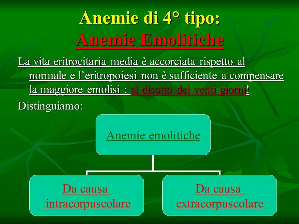 Anemie di 4° tipo: Anemie Emolitiche La vita eritrocitaria media è accorciata rispetto al normale e leritropoiesi non è sufficiente a compensare la ma