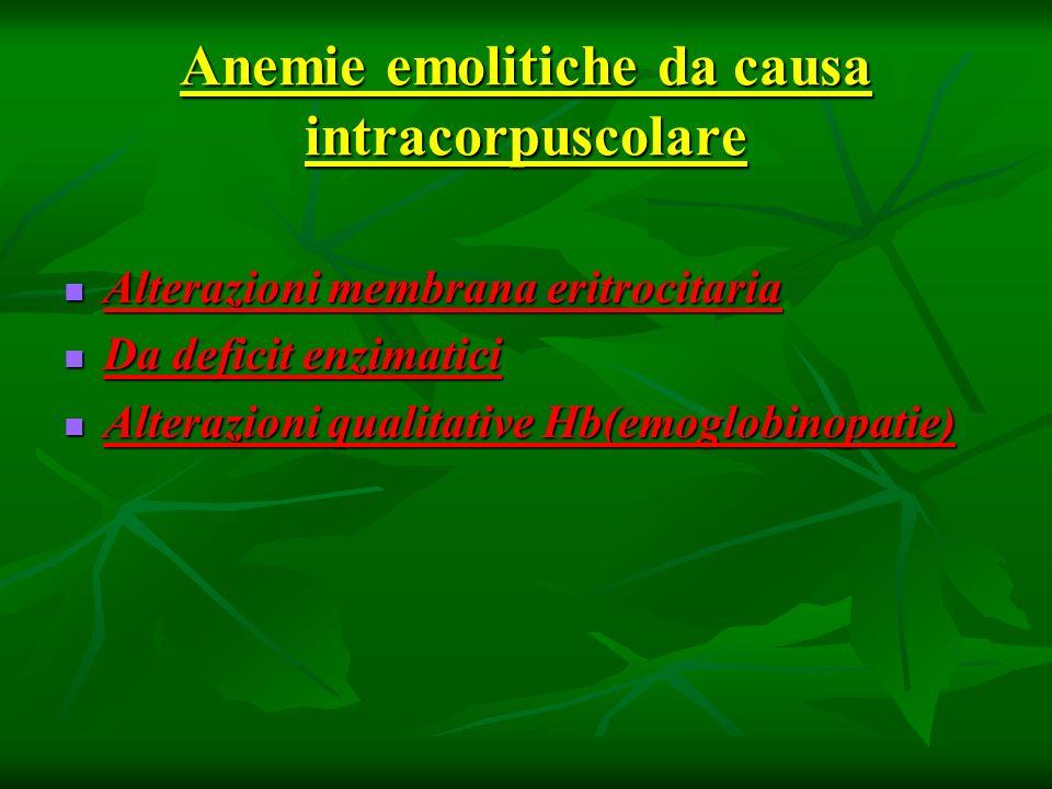 Anemie emolitiche da causa intracorpuscolare Alterazioni membrana eritrocitaria Alterazioni membrana eritrocitaria Da deficit enzimatici Da deficit en