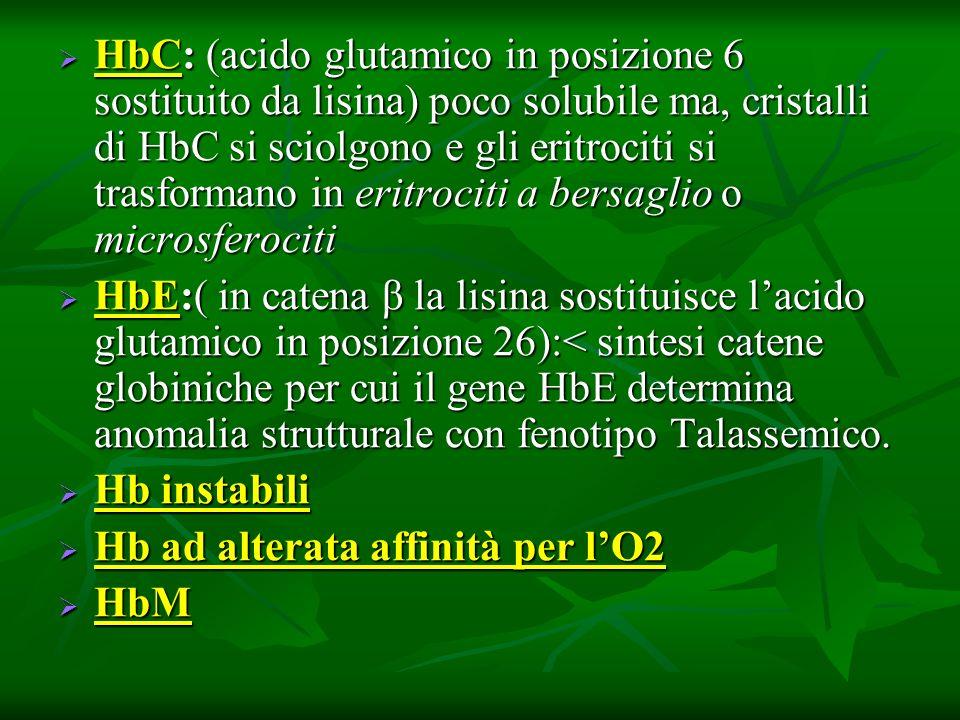 HbC: (acido glutamico in posizione 6 sostituito da lisina) poco solubile ma, cristalli di HbC si sciolgono e gli eritrociti si trasformano in eritroci