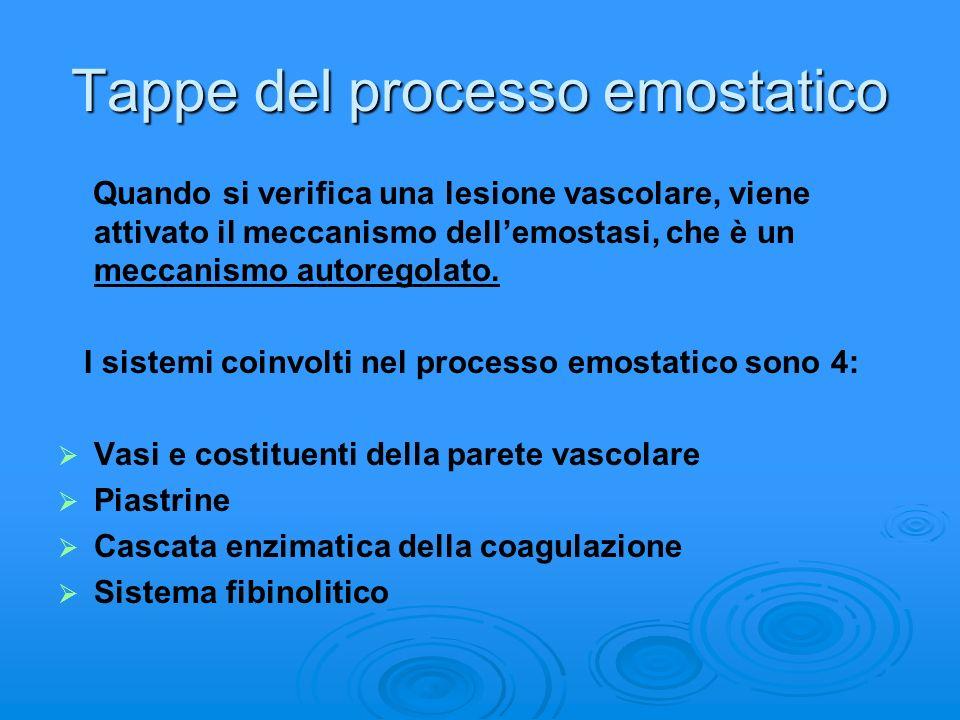 Tappe del processo emostatico Quando si verifica una lesione vascolare, viene attivato il meccanismo dellemostasi, che è un meccanismo autoregolato. I