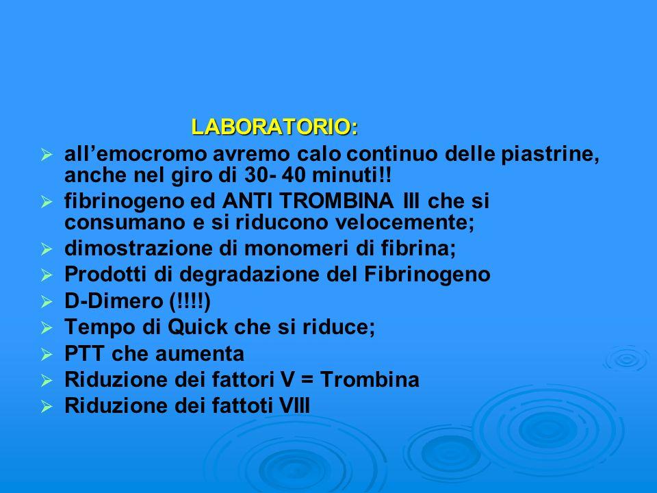 LABORATORIO: LABORATORIO: allemocromo avremo calo continuo delle piastrine, anche nel giro di 30- 40 minuti!! fibrinogeno ed ANTI TROMBINA III che si