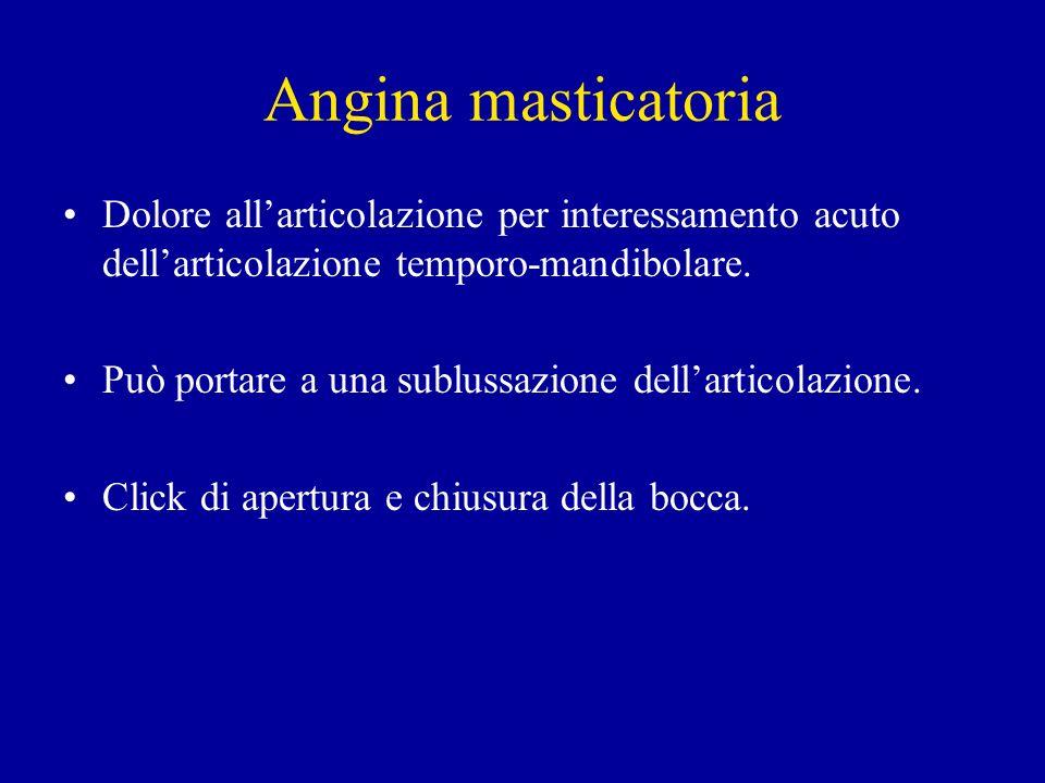 Angina masticatoria Dolore allarticolazione per interessamento acuto dellarticolazione temporo-mandibolare. Può portare a una sublussazione dellartico