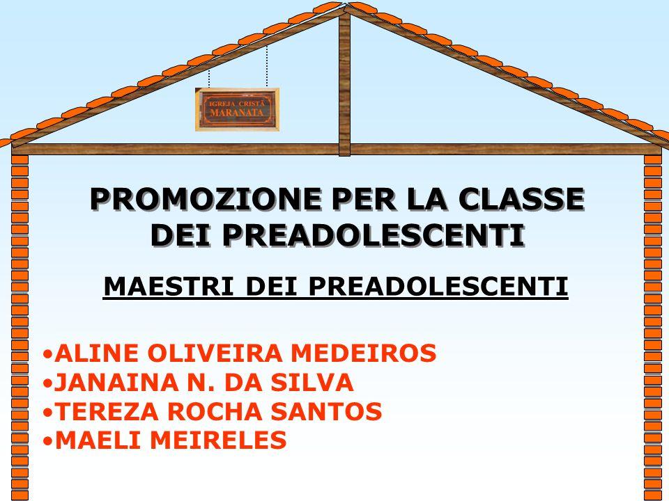 PROMOZIONE PER LA CLASSE DEI PREADOLESCENTI PROMOZIONE PER LA CLASSE DEI PREADOLESCENTI ALINE OLIVEIRA MEDEIROS JANAINA N.