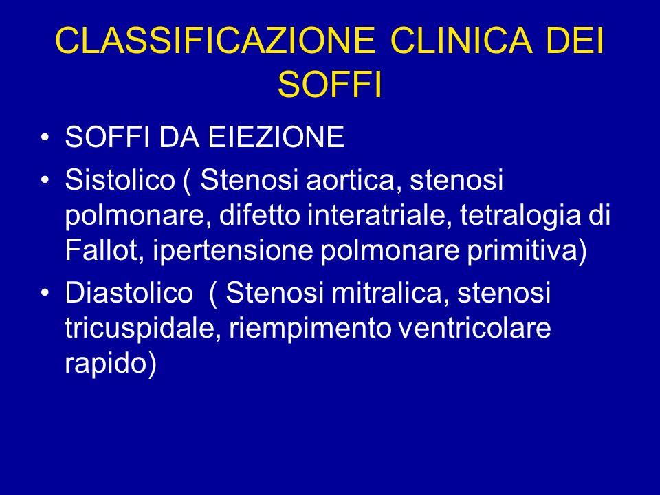 CLASSIFICAZIONE CLINICA DEI SOFFI SOFFI DA EIEZIONE Sistolico ( Stenosi aortica, stenosi polmonare, difetto interatriale, tetralogia di Fallot, iperte
