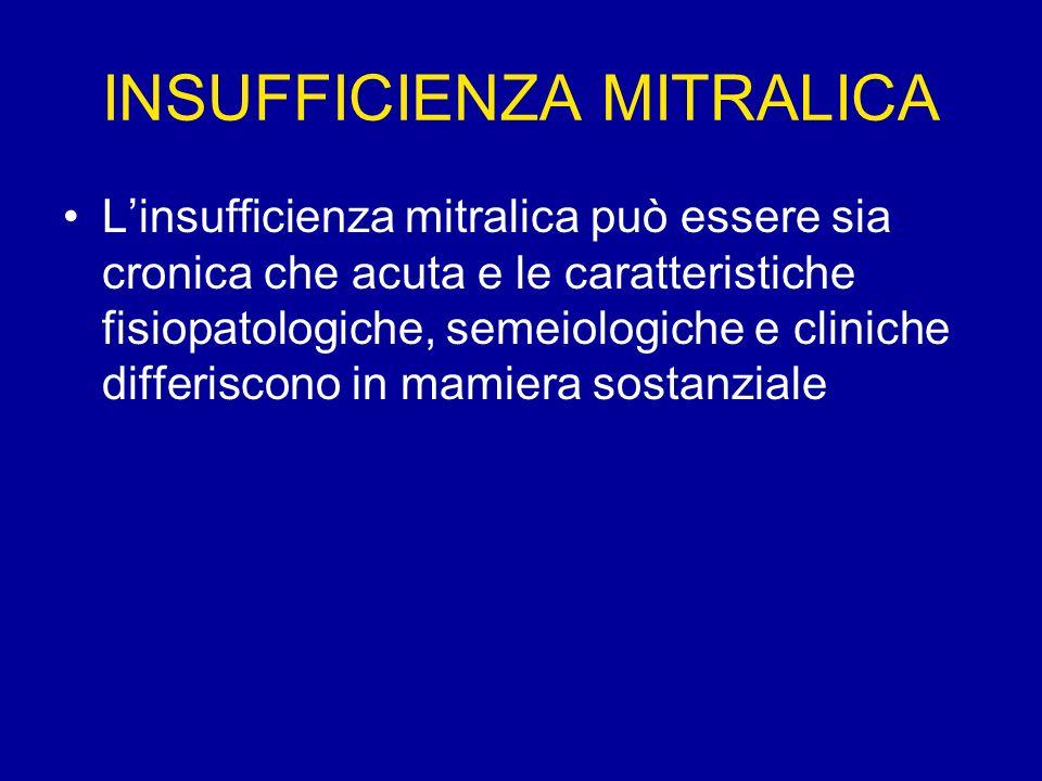 INSUFFICIENZA MITRALICA Linsufficienza mitralica può essere sia cronica che acuta e le caratteristiche fisiopatologiche, semeiologiche e cliniche diff
