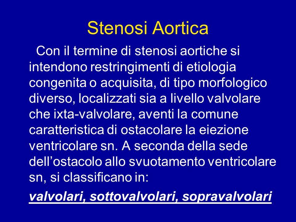 Stenosi Aortica Con il termine di stenosi aortiche si intendono restringimenti di etiologia congenita o acquisita, di tipo morfologico diverso, locali
